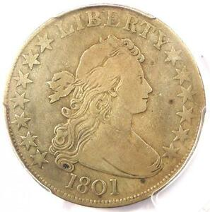 1801 DRAPED BUST HALF DOLLAR 50C   PCGS VF DETAILS    DATE   CERTIFIED COIN