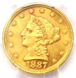 1887 LIBERTY GOLD QUARTER EAGLE $2.50   PCGS UNCIRCULATED    MS UNC COIN
