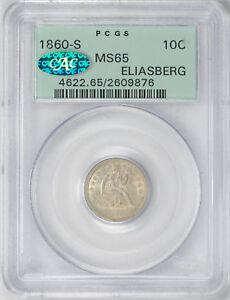 Click now to see the BUY IT NOW Price! 1860 S LIBERTY SEATED 10C PCGS MS 65