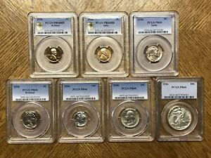 Click now to see the BUY IT NOW Price! 1936 1C  50C PROOF SET WITH SATIN AND BRILLIANT 1C & 5C PCGS PR66RD  7 PIECE