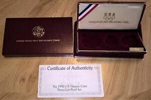Click now to see the BUY IT NOW Price! 1992 OLYMPIC COINS COMMEMORATIVE 3 COIN PROOF SET OGP BOX AND COA  NO COINS