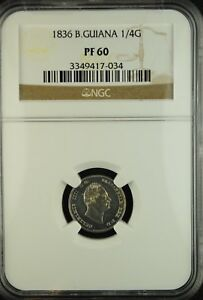 Click now to see the BUY IT NOW Price! 1836 BRITISH GUIANA PROOF 1/4 GUILDER NGC PR 60 BRILLIANT WHITE  GUYANA