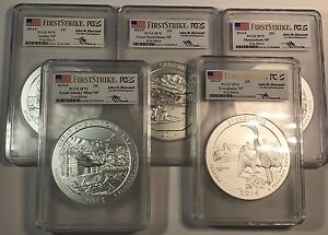 Click now to see the BUY IT NOW Price! 2015 P & 2014 P AMERICA T BEAU. ATB 5 OZ COMPLETE SETS  PCGS SP70 FS MERCANTI