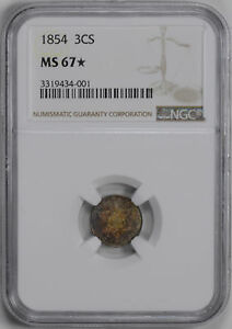 Click now to see the BUY IT NOW Price! 1854 SILVER 3CS NGC MS 67