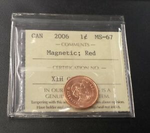 Click now to see the BUY IT NOW Price! CANADA 2006 1 CENT MS 67 MAGNETIC RED NO LOGO NO P