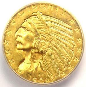 1909 D INDIAN GOLD HALF EAGLE $5 COIN   ICG MS63    IN MS63   $1 060 VALUE