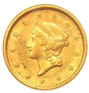 1851 LIBERTY GOLD DOLLAR COIN G$1   CERTIFIED ANACS AU55    COIN