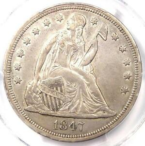 1847 SEATED LIBERTY SILVER DOLLAR $1   PCGS AU DETAILS    EARLY DATE COIN