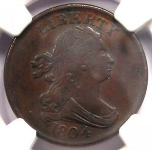 1804 DRAPED BUST HALF CENT 1/2C   CERTIFIED NGC AU DETAILS    EARLY COIN