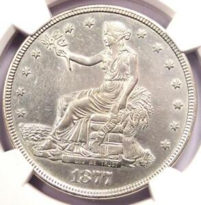 1877 TRADE SILVER DOLLAR T$1   NGC AU DETAILS    CERTIFIED COIN