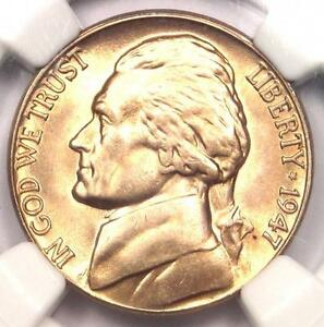 1947 D JEFFERSON NICKEL 5C   NGC MS67 5FS    FULL STEPS GEM   $1 875 VALUE