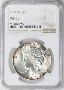 Click now to see the BUY IT NOW Price! 1928 S PEACE $1 NGC MS 65