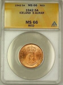 Click now to see the BUY IT NOW Price! 1942 ICELAND 5A FIVE AURAR COPPER COIN ANACS MS 66 RED GEM BU  C