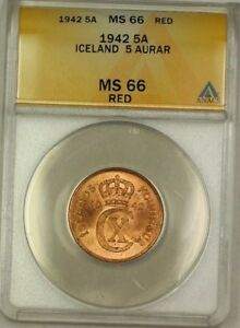 Click now to see the BUY IT NOW Price! 1942 ICELAND 5A FIVE AURAR COPPER COIN ANACS MS 66 RED GEM BU  D