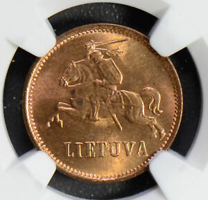 Click now to see the BUY IT NOW Price! LITHUANIA 1936 2 CENTAS NGC MS64RD  IN RED  NG0490 COMBINE SHIPPING