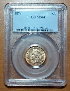 1878 $3 INDIAN PRINCESS GOLD PCGS MS61