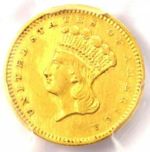 1857 S INDIAN GOLD DOLLAR COIN G$1   PCGS AU DETAILS    DATE