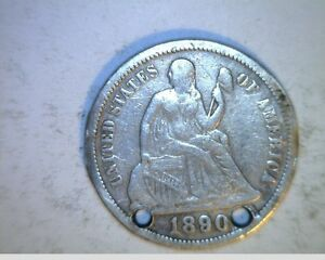 1890 US SEATED LIBERTY DIME  CIRCULATED .900 SILVER  US 6340