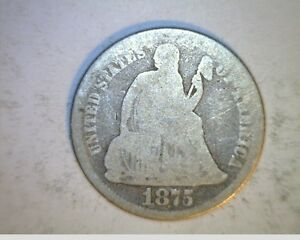 1875 US SEATED LIBERTY DIME  CIRCULATED .900 SILVER  US 6337