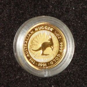 1991 AUSTRALIA 1/20TH TROY OUNCE GOLD NUGGET SERIES GOLD COIN IN CAPSULE