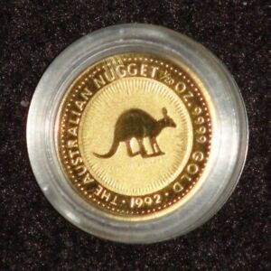 1992 AUSTRALIA 1/20TH TROY OUNCE GOLD NUGGET SERIES GOLD COIN IN CAPSULE