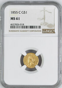 Click now to see the BUY IT NOW Price! 1855 C GOLD G$1 NGC MS 61