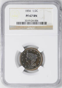 Click now to see the BUY IT NOW Price! 1856 BRAIDED HAIR 1/2 C NGC PR 67 BN