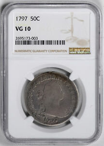 Click now to see the BUY IT NOW Price! 1797 DRAPED BUST 50C NGC VG 10