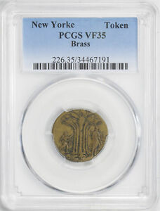 Click now to see the BUY IT NOW Price! NEW YORKE BRASS TOKEN PCGS VF 35