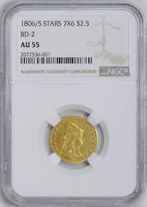 Click now to see the BUY IT NOW Price! 1806/5 DRAPED BUST $2.5 NGC AU 55