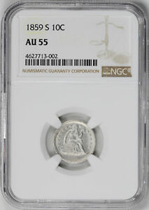 Click now to see the BUY IT NOW Price! 1859 S LIBERTY SEATED 10C NGC AU 55
