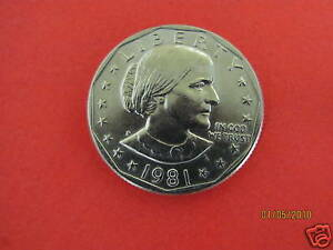 1981 P  BU MINT STATE  SUSAN B ANTHONY   US  ONE  DOLLAR COIN