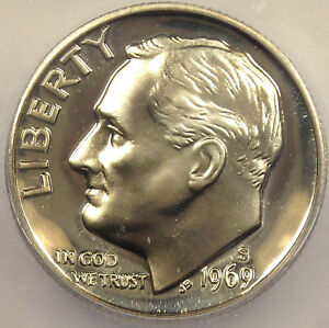 1969 S PROOF ROOSEVELT DIME   ICG PR70 CAMEO