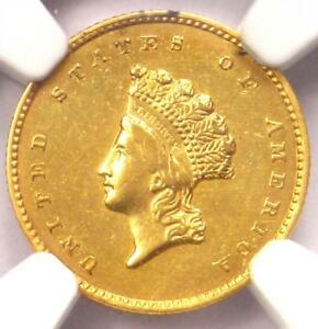 1856 S INDIAN GOLD DOLLAR COIN G$1   NGC AU DETAILS    DATE