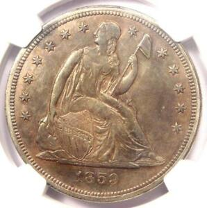 1859 S SEATED LIBERTY SILVER DOLLAR $1   NGC AU DETAILS