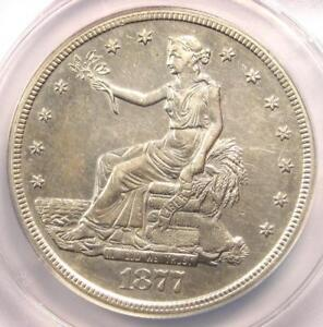 1877 S TRADE SILVER DOLLAR T$1   ANACS AU50 DETAILS    CERTIFIED COIN