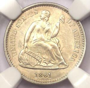 1861 SEATED LIBERTY HALF DIME H10C   CERTIFIED NGC UNCIRCULATED DETAILS  UNC MS