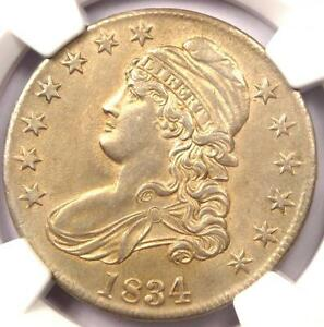 1834 CAPPED BUST HALF DOLLAR 50C  O 105 VARIETY    CERTIFIED NGC AU DETAILS
