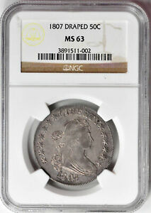 Click now to see the BUY IT NOW Price! 1807 DRAPED BUST 50C NGC MS 63