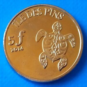 ILE DES PINS   NEW CALEDONIA 5 FRANCS 2014 UNC TURTLE SHELL UNUSUAL COIN