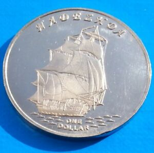 GILBERT ISLANDS 1 DOLLAR 2015 UNC NADEZHDA SAILING SHIP KIRIBATI UNUSUAL COIN