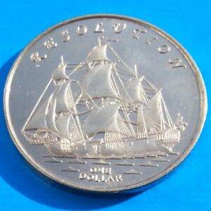 GILBERT ISLANDS 1 DOLLAR 2014 UNC RESOLUTION SAILING SHIP KIRIBATI UNUSUAL COIN