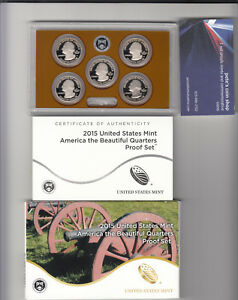 2015 S AMERICA THE BEAUTIFUL FIVE COIN CLAD PROOF SET IN U. S. MINT BOX WITH COA