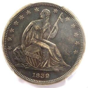 1839 NO DRAPERY SEATED LIBERTY HALF DOLLAR 50C COIN   PCGS XF DETAILS  EF