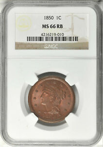 1850 BRAIDED HAIR LARGE CENT NGC MS 66RB
