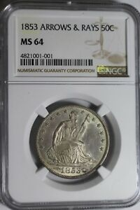 Click now to see the BUY IT NOW Price! 1853 ARROW & RAYS SEATED HALF DOLLAR MS 64 NGC 001