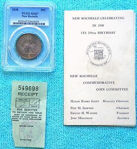 1938 MS 67 NEW ROCHELLE NEW YORK 250TH ANNIV. 15 266 MINTED SILVER HALF