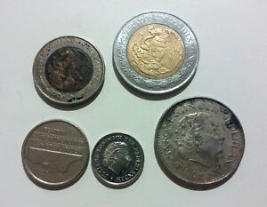 5 DIFFERENT COINS LOT MEXICO 1   5 PESOS &  NETHERLANDS 10   25 CENTS   1 GULDEN