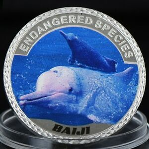 BAIJI DOLPHIN   ENDANGERED ANIMAL SPECIES 40MM UNC COMMEMORATIVE COIN