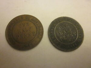 TWO AUSTRALIAN HALF PENNY COINS 1914 AND 1939
